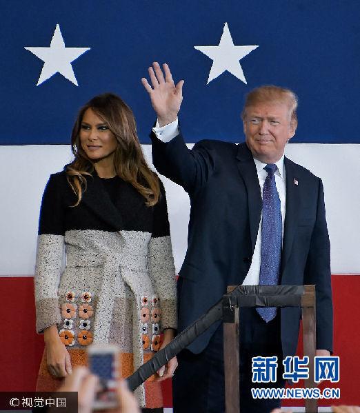 美國總統特朗普乘專機抵達日本 開啟亞洲之旅