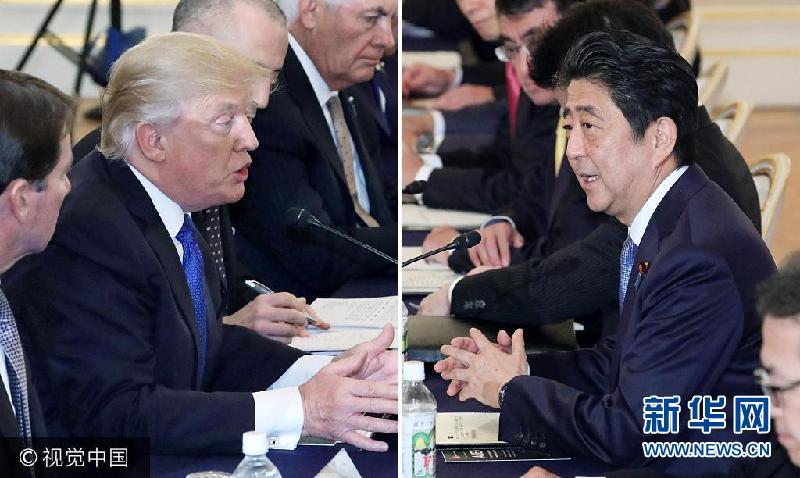 日本:安倍與特朗普舉行正式會晤