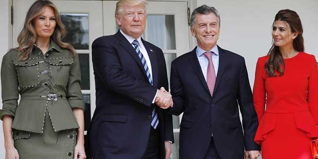 阿根廷總統夫婦訪問美國 兩位第一夫人現身