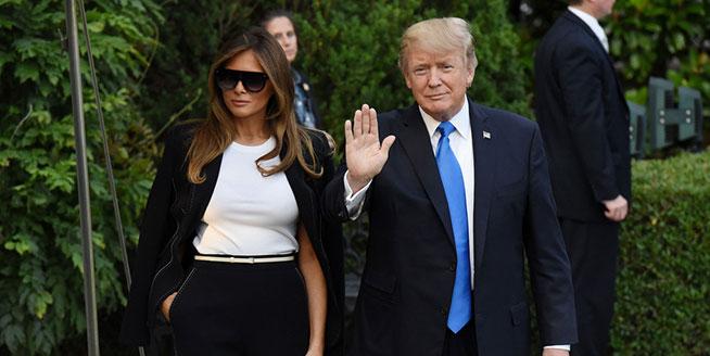 美總統特朗普啟程赴法國訪問 第一夫人梅拉尼婭一襲黑裝氣場全開