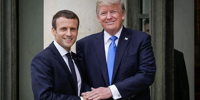 馬克龍與特朗普在愛麗舍宮舉行會晤 雙方微笑握手