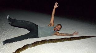 美大蟒蛇橫穿馬路恐被車軋 小哥出手相救