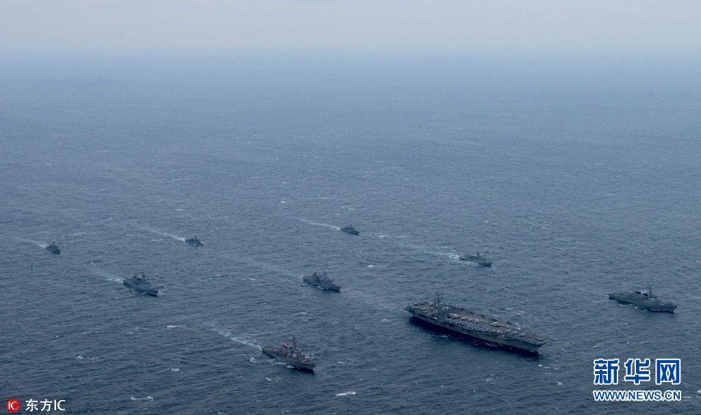 """""""裏根""""號航母與韓美戰艦舉行聯合海上訓練"""