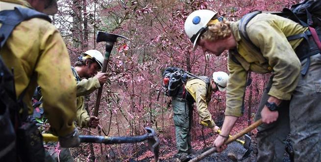 美國加州北部山林大火火情緩解