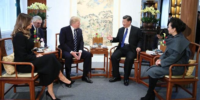 習近平和夫人彭麗媛同美國總統特朗普和夫人梅拉尼婭茶敘