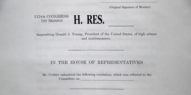 美國民主黨議員提出彈劾特朗普議案