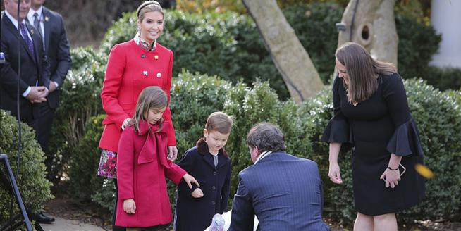 白宮感恩節火雞赦免儀式 伊萬卡全紅出席