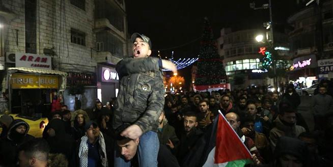 巴勒斯坦多地抗議美承認耶路撒冷為以色列首都