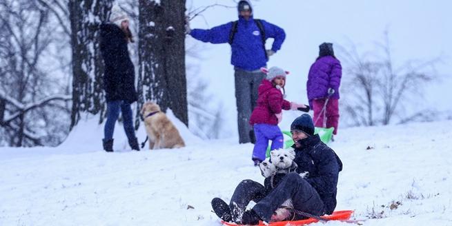 芝加哥迎降雪 民眾滑雪玩嗨了