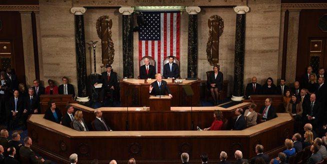 特朗普發表其執政以來的首次國情咨文演講