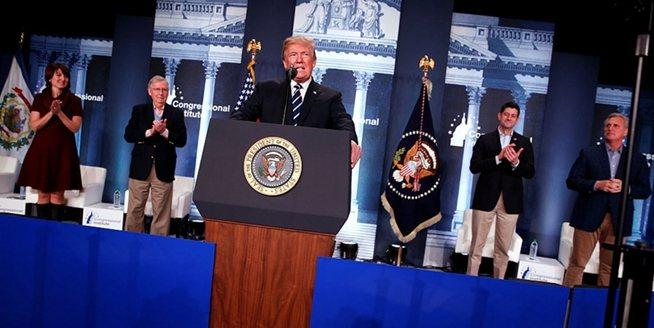 美國總統特朗普出席參眾兩院共和黨議員大會