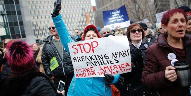 紐約民眾遊行抗議特朗普移民政策