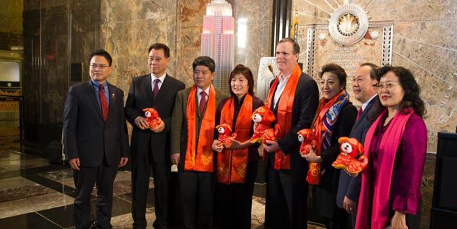紐約帝國大廈慶祝2018年中國春節點燈儀式舉行