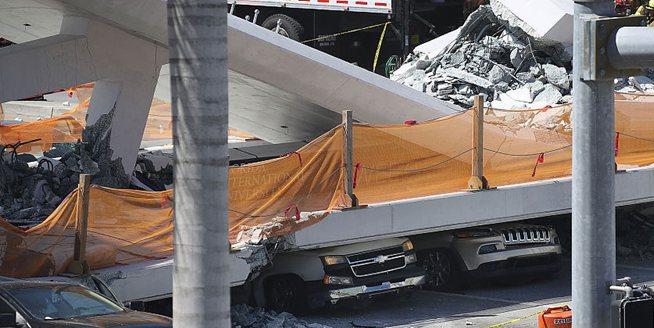 美國邁阿密一過街天橋坍塌 多人死傷